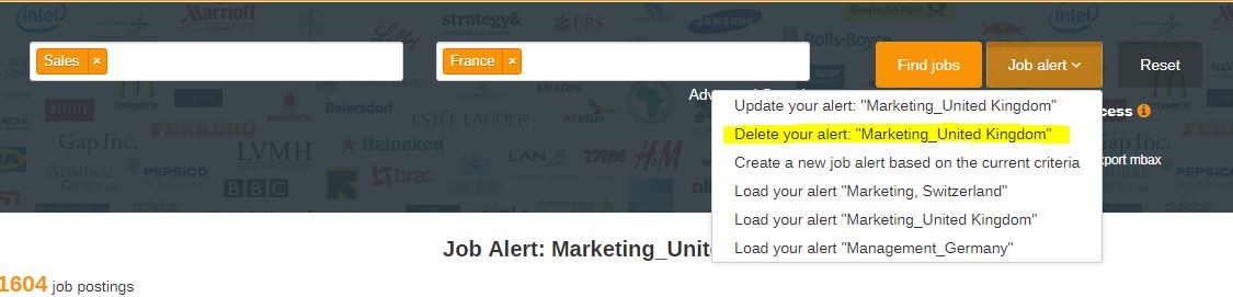 Job alerts screenshots
